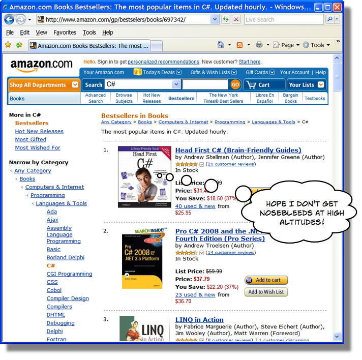 C# bestsellers on Amazon 14-Mar-2008
