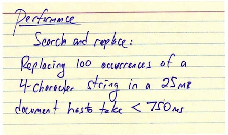 Performance index card (back)