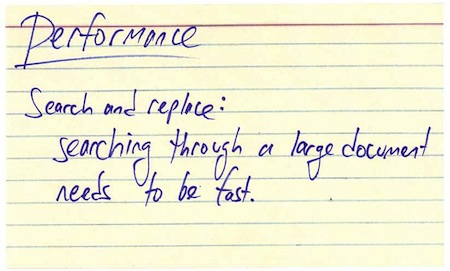 Performance index card