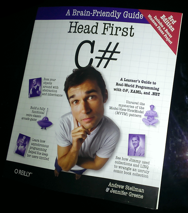 A new copy of Head First C#, 3rd edition, fresh from the printer